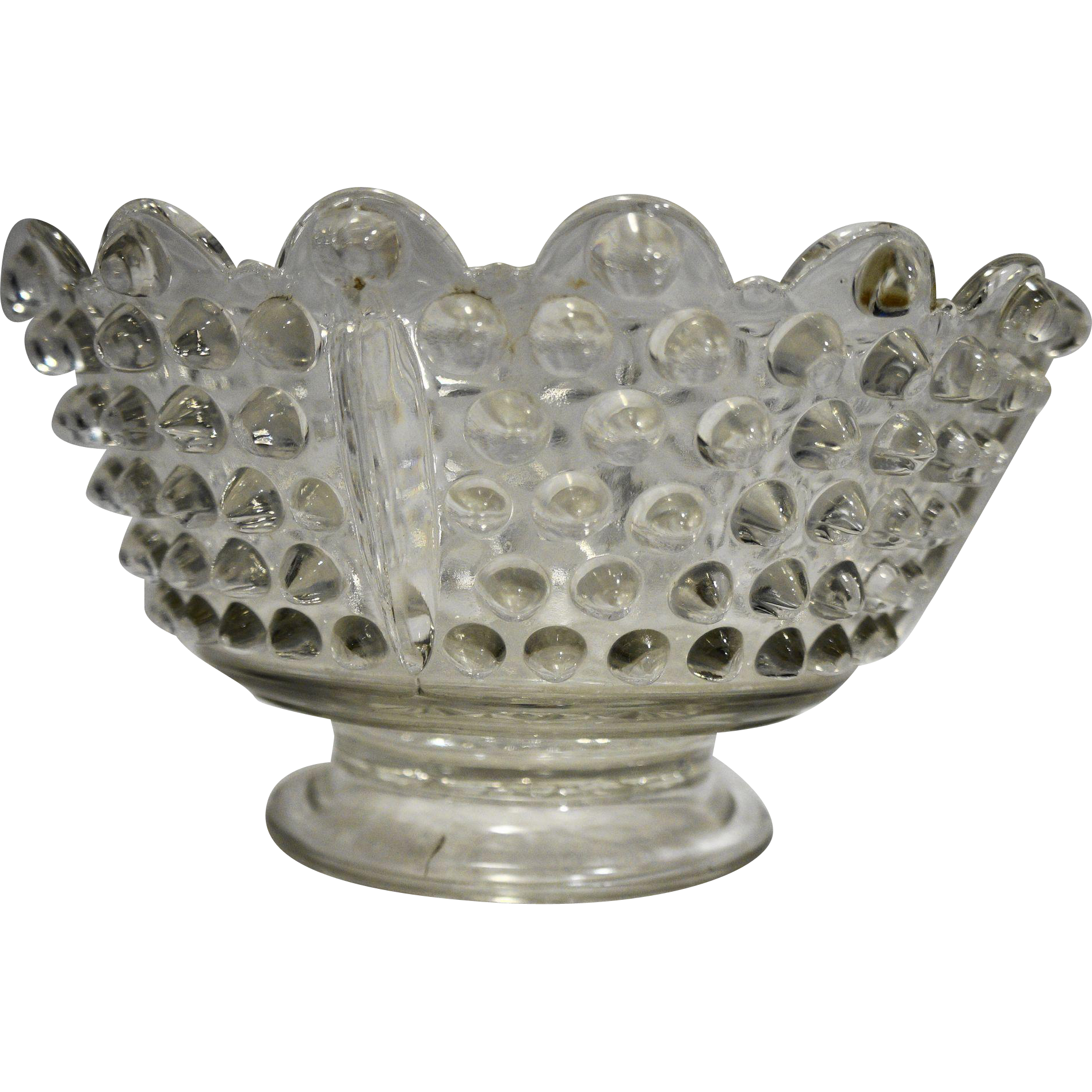 Hobnail Clear Glass Bowl Scalloped Rim Daisy Button Foot Base