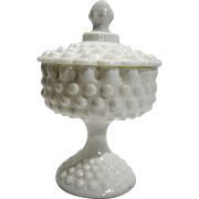 Fenton Hobnail White Milk Glass Candy Box Pedestal Footed 3885