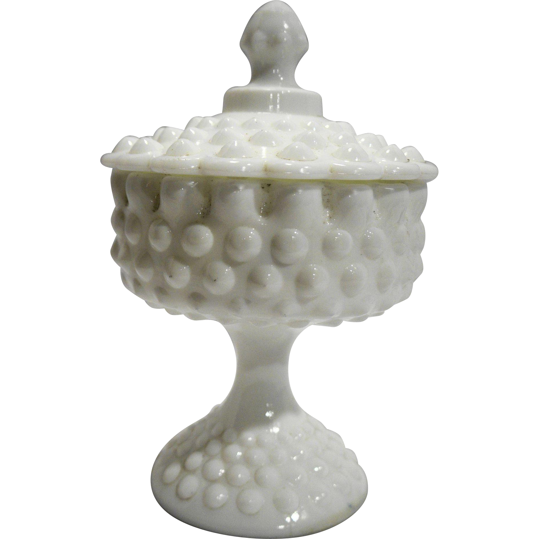 Fenton Hobnail White Milk Glass Candy Box Pedestal Footed 3885