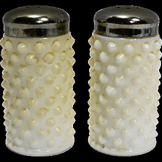 Fenton Hobnail Milk Glass Salt Pepper Shakers 3806