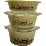 Pyrex Forest Fancies Brown Mushroom Cinderella Small Casseroles 471 472 473