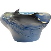 Franz Porcelain Dolphin Swimming Vase Bowl XP 1834 MIB Designed Ming Lei