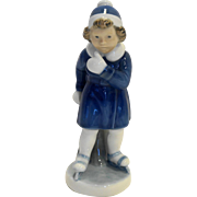 Vintage Royal Copenhagen 4523 Figurine January Girl Skater Porcelain Blue White