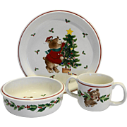 Mikasa Trim The Tree Child Dish Set Plate Bowl Mug Christmas