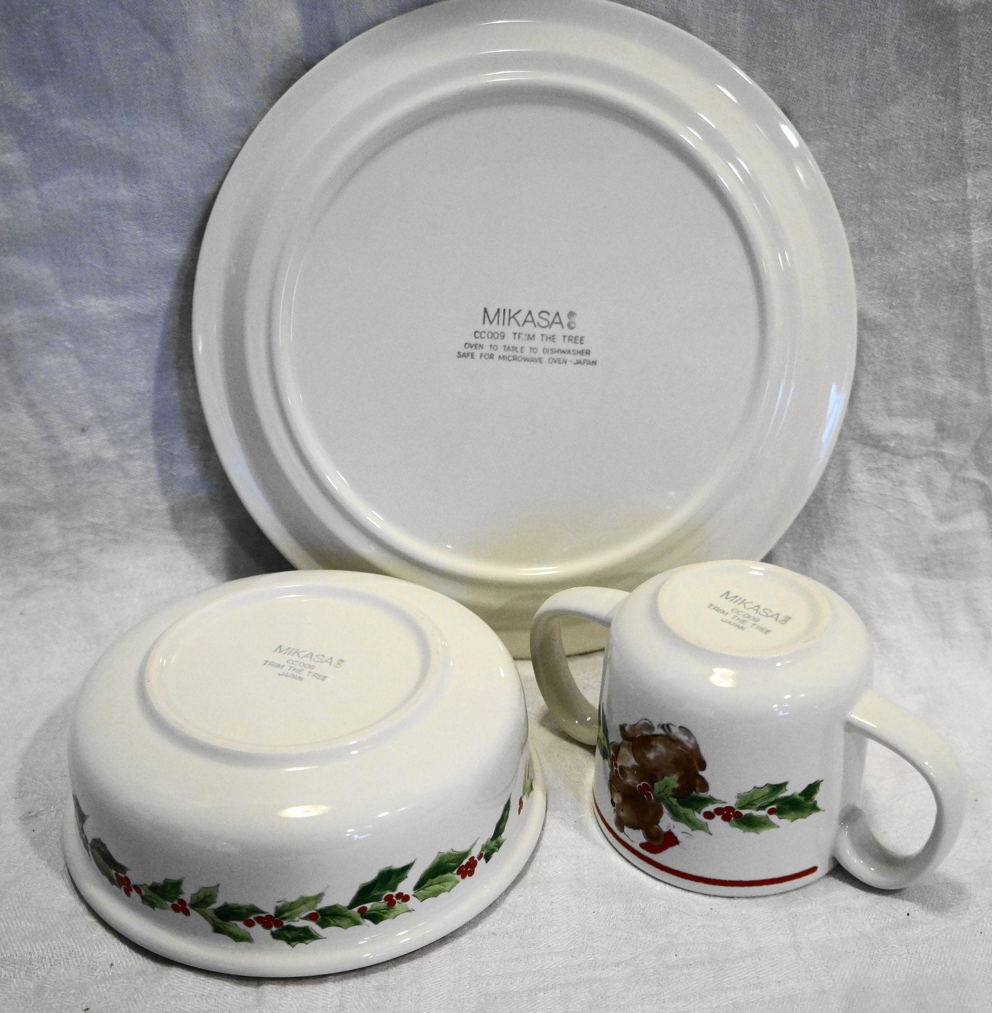 Mikasa Trim The Tree Child Dish Set Plate Bowl Mug
