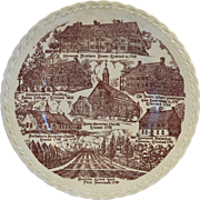 Old Salem North Carolina Red Transferware Vernon Kilns City Souvenir Plate