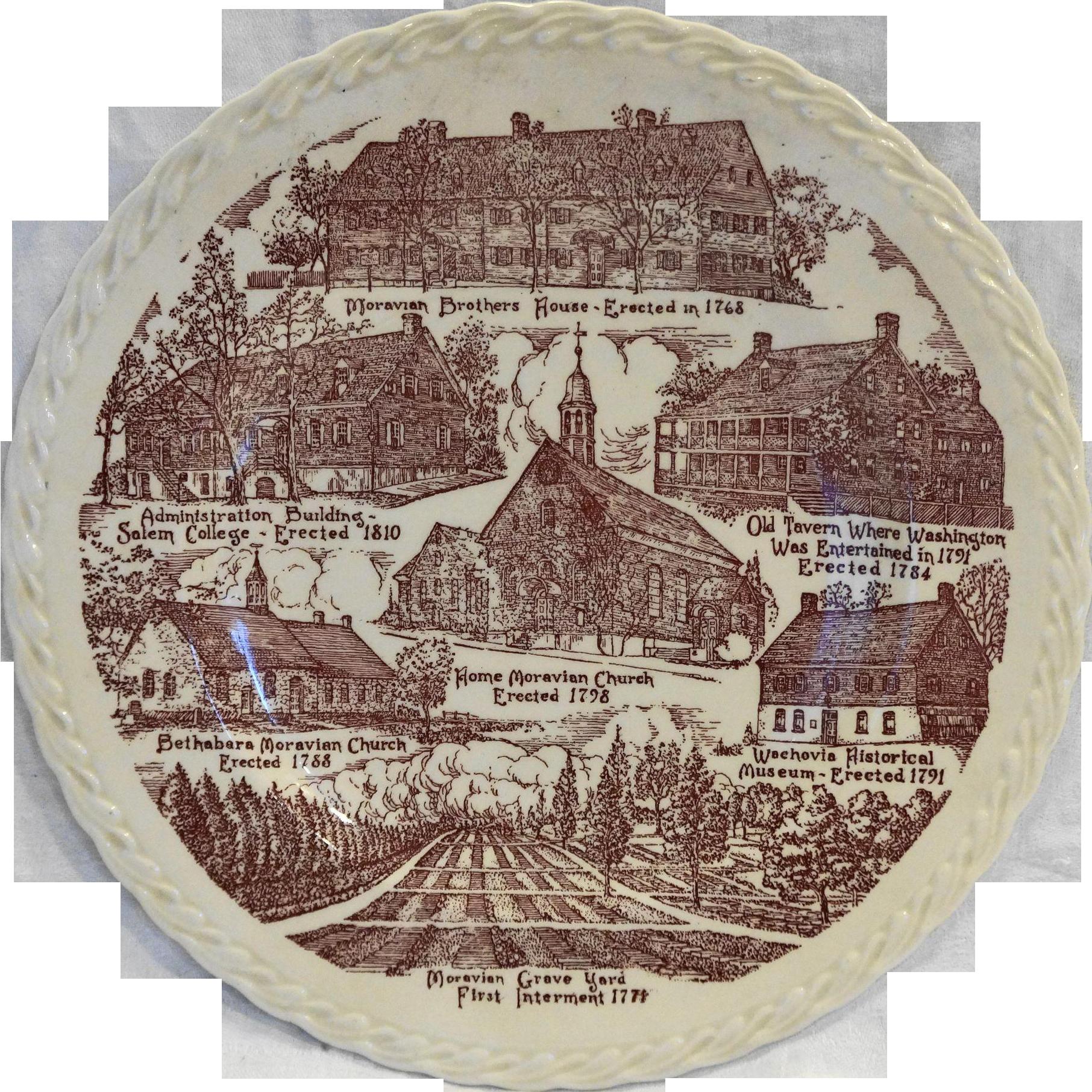 Old Salem North Carolina Red Transferware Vernon Kilns City Souvenir Plate