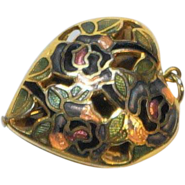 Cloisonne Filigree Puffy Heart Pendant Charm