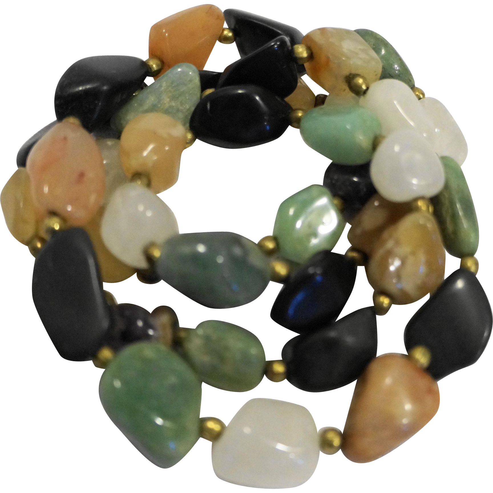 Semi Precious Hardstone Polished Nugget Necklace 13 IN