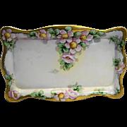 Antique Limoges Hand Painted Floral Porcelain Dresser Tray
