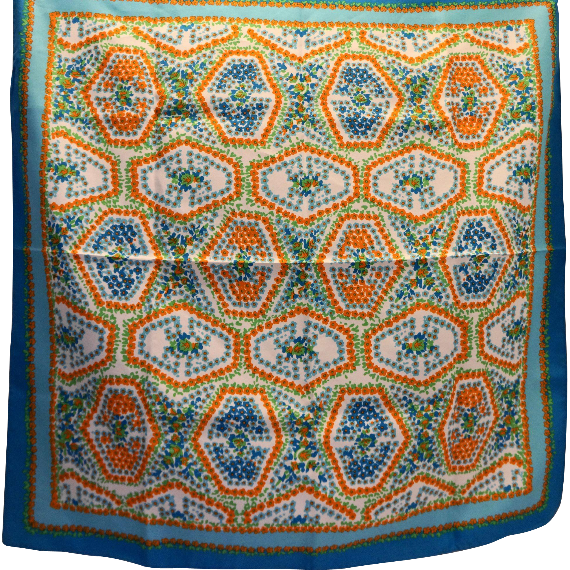 Sally Gee Blue Orange Green Floral Mosaic Style Polyester Scarf