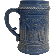 Periwinkle Blue Slag Milk Glass Stein Mug German Phrase Highly Embossed