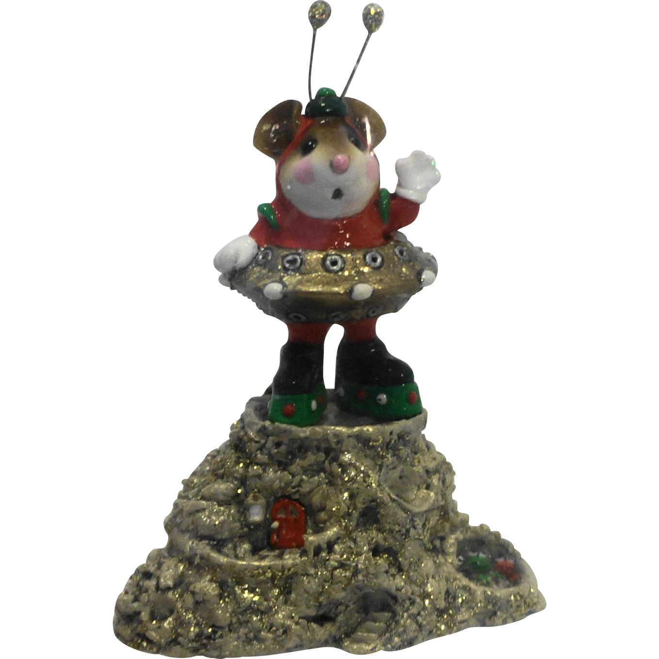 Wee Forest Folk Greetings! 2003 Event Piece Martian Alien Christmas Red Green DP