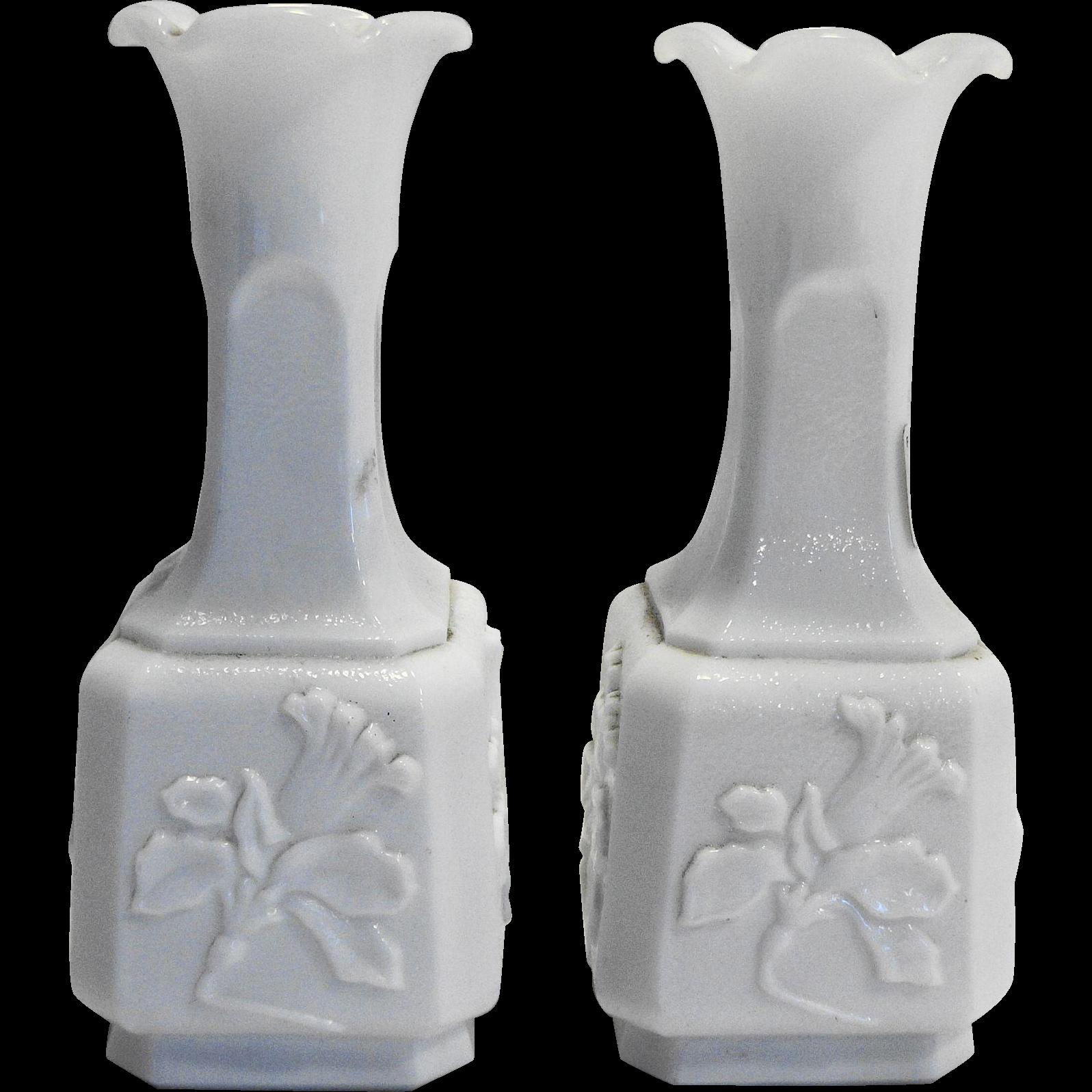 Imperial Glass Jonquil White Milk Glass Bud Vase Pair