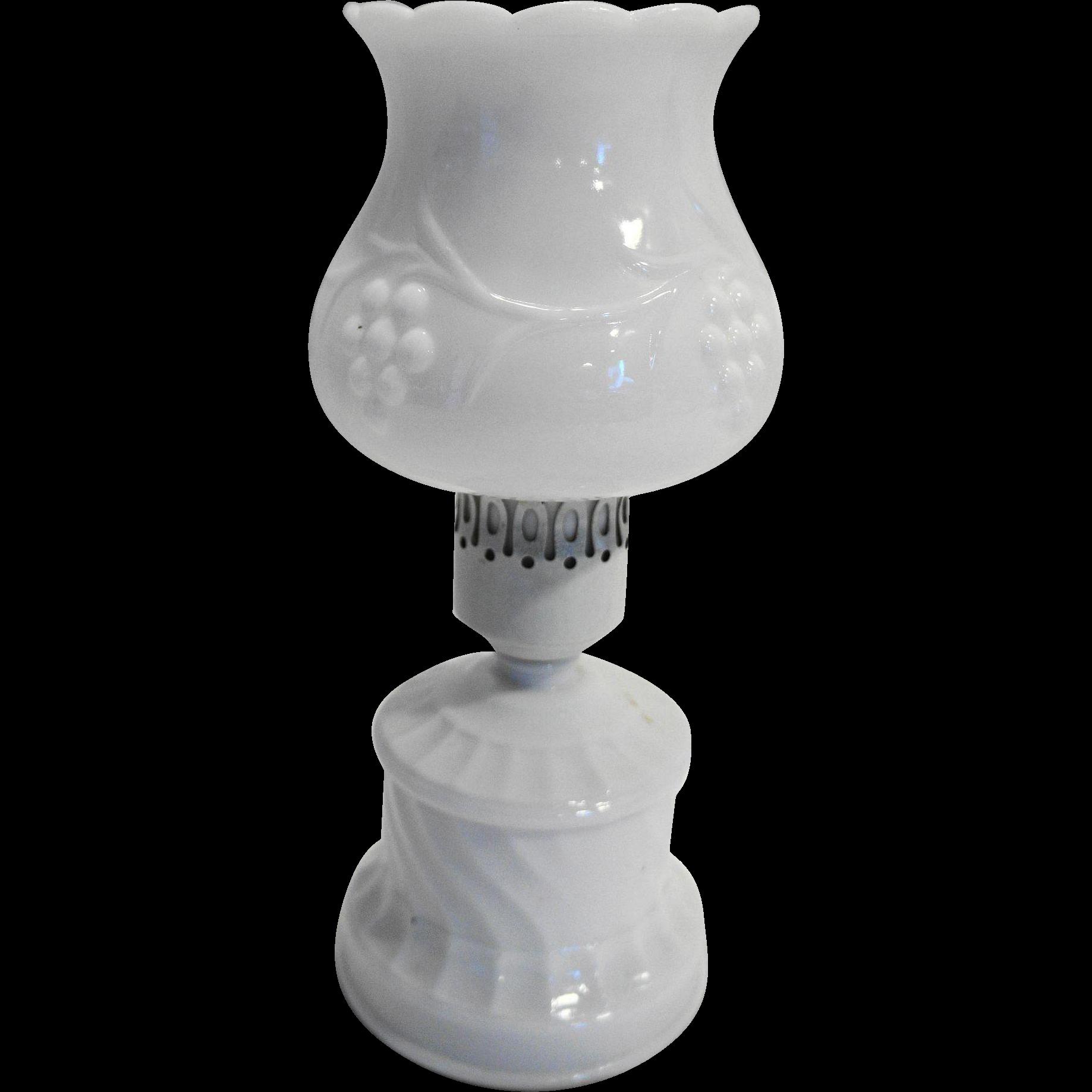 White Milk Glass Grape Swirl Candle Lamp