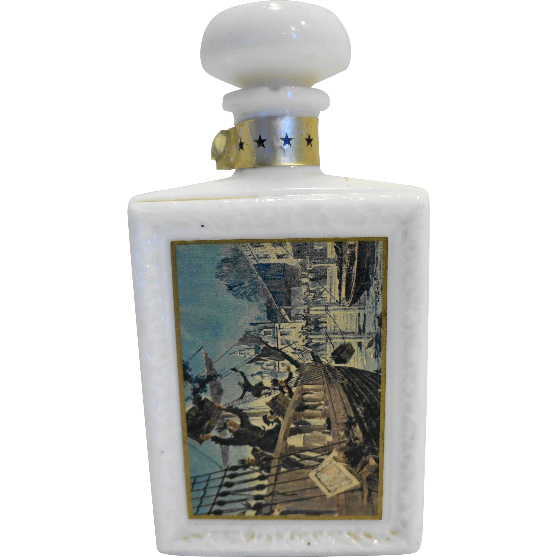 JW Dant's Boston Tea Party American Collection Decanter White Milk Glass