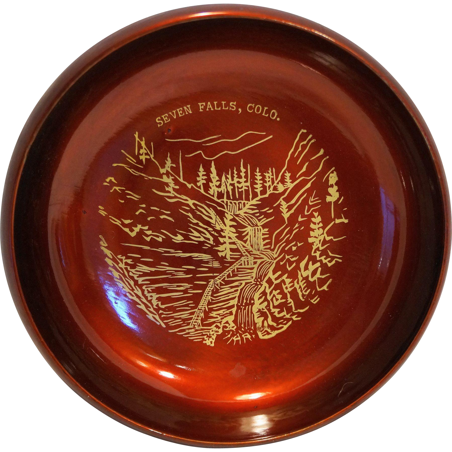 Seven Falls Colorado Red Lacquer Lacquerware Aizu Vintage Souvenir Small Salad Bowl