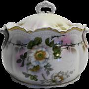 Lehmann Son Leuchtenburg Germany Porcelain Biscuit Cookie Jar Tea Caddy Huge Sugar Bowl