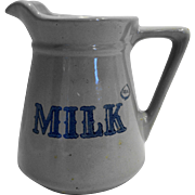Prairie Farms Dairy Real Milk Stoneware Pitcher Gray Blue Vintage 1970s 32 OZ