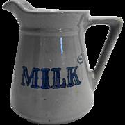 Prairie Farms Dairy Real Milk Stoneware Pitcher Gray Blue Vintage 1970s 32 OZ