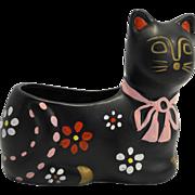 National Potteries Company Napco Black Hand Painted Cat Planter Japan