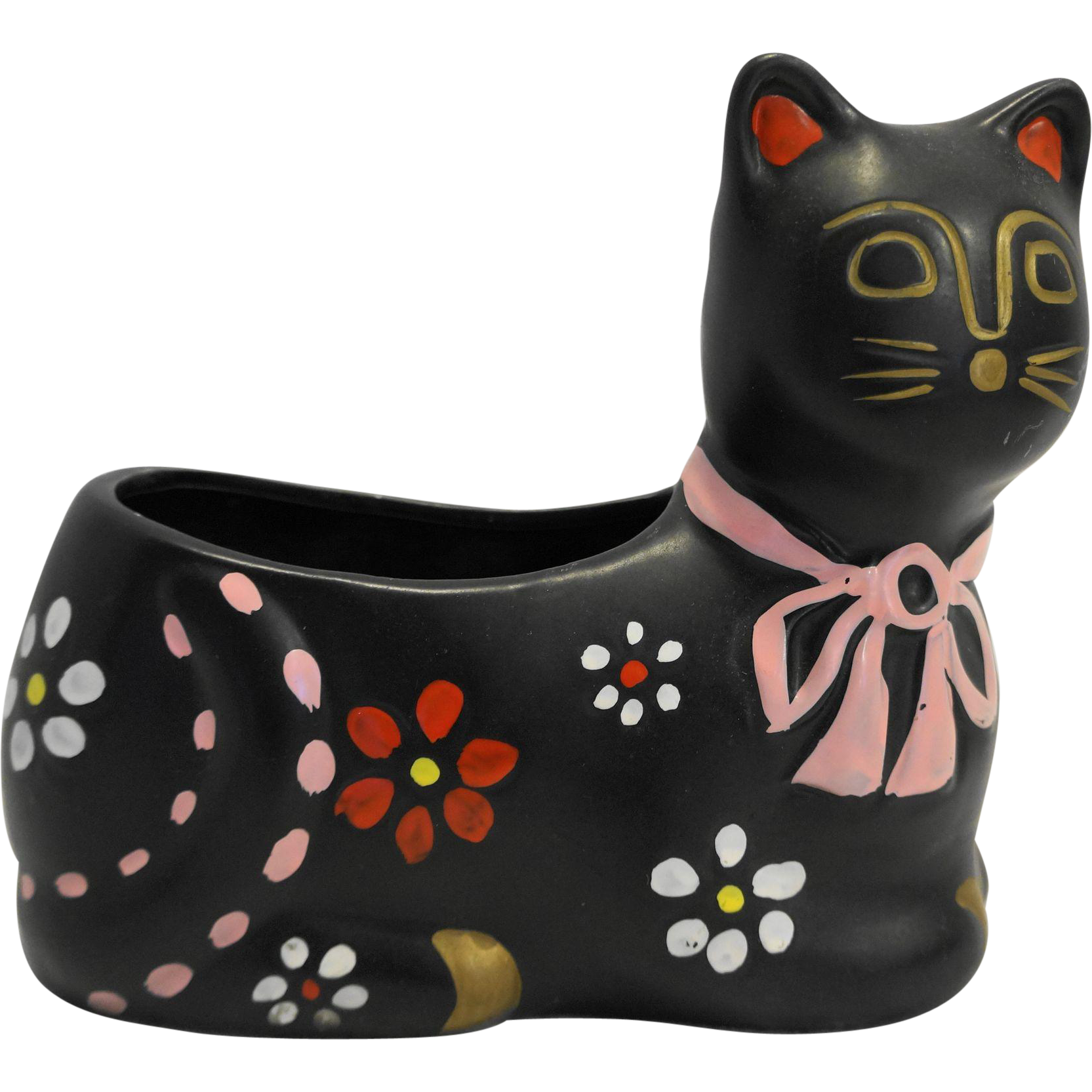 National Potteries Company Napco Black Hand Painted Cat Planter Japan