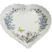 Mikasa Thinking of You Heart Dish Butterflies Flowers White Embossed Porcelain