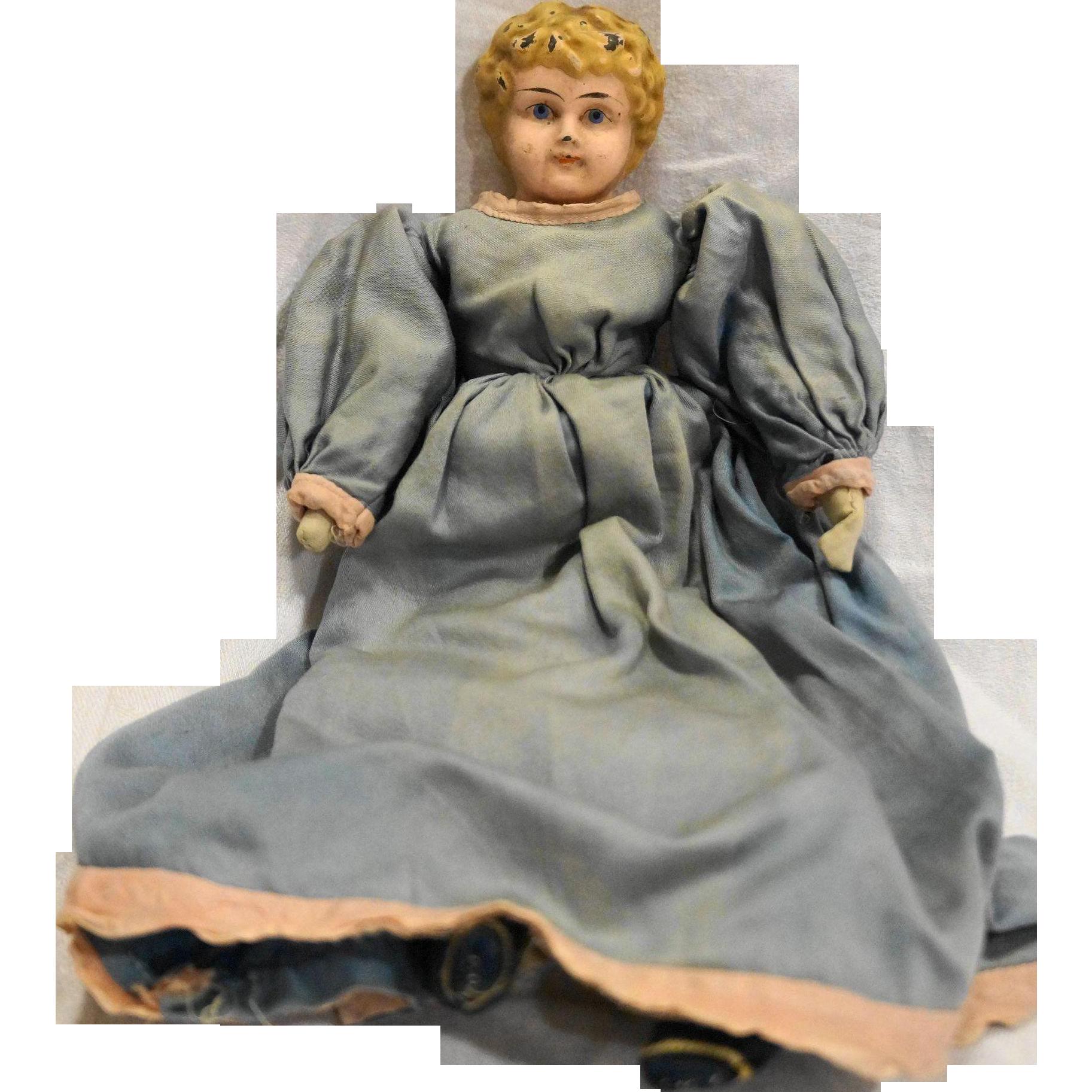 Minerva Tin Head Doll Cloth Body Germany Blue Dress
