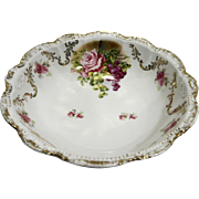 PM Porzellanfabrik Moschendorf Bavaria Antique Bowl 10 IN Roses Gold