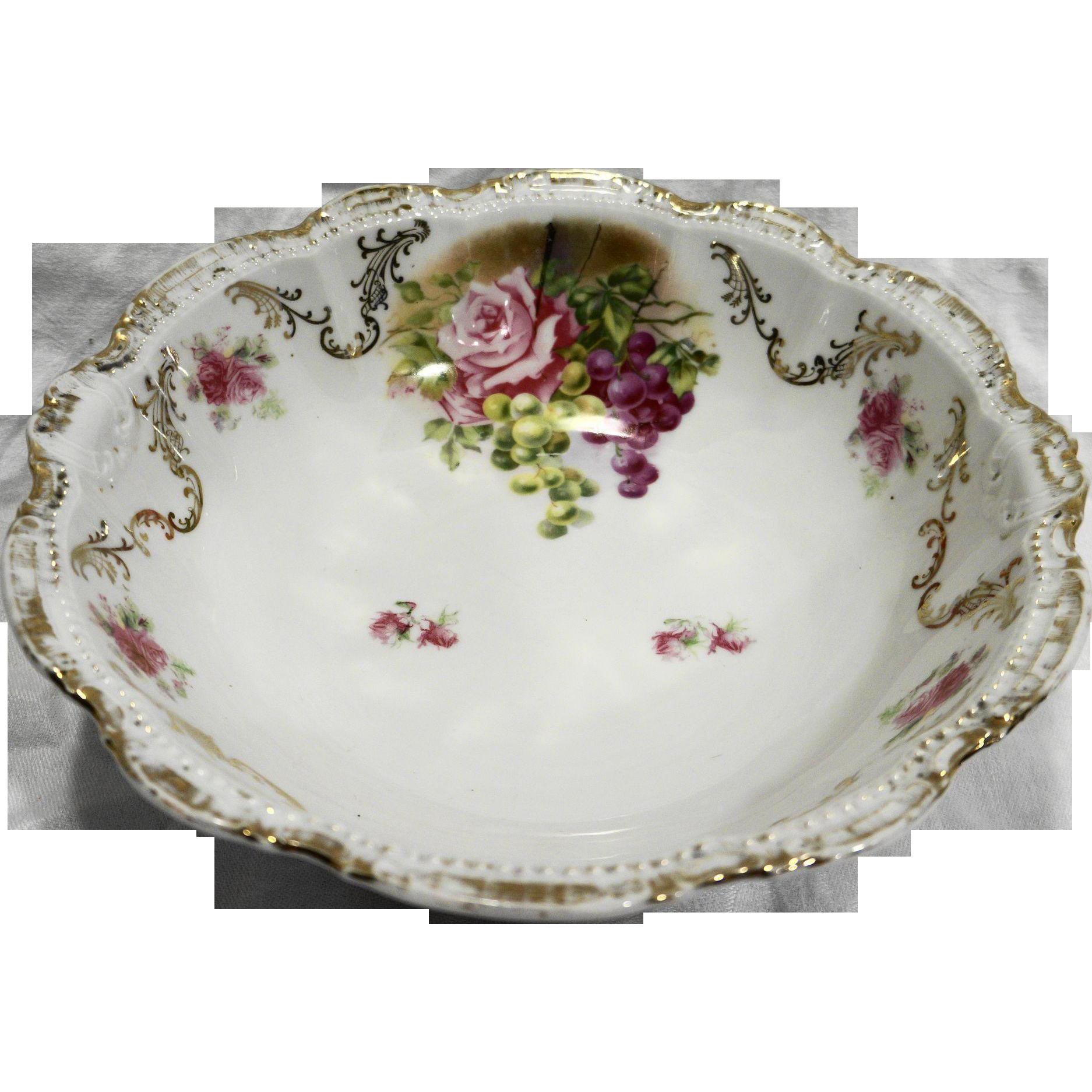 PM Porzellanfabrik Moschendorf Bavaria Antique Bowl 10 IN Roses Gold