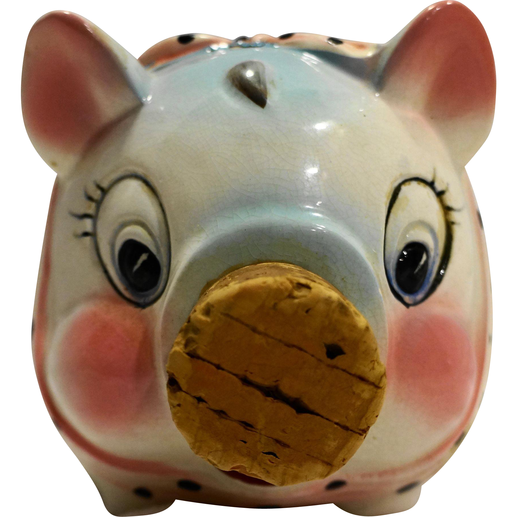Lefton Hand Painted Pig Piggy Bank Nursery Decor Made in Japan