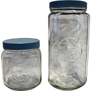 Golden Harvest Clear Glass Canisters Pair 1L 2L Tall Blue Lids