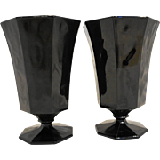 Arcoroc Octime Black Footed Tumblers Goblets Large Pair