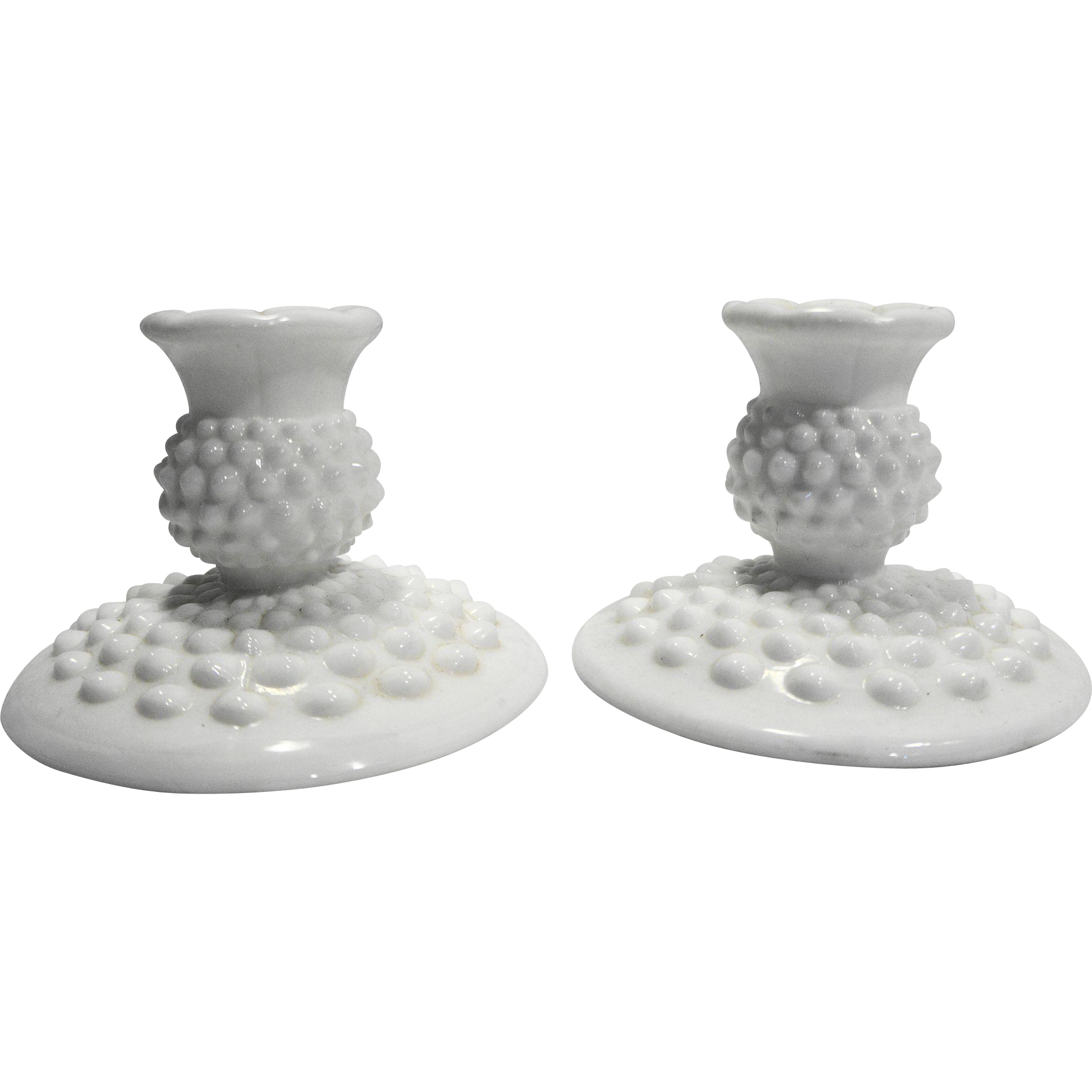 Fenton Hobnail White Milk Glass 3974 Candle Holders Pair Flat Foot Single Light Taper