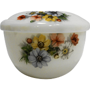 Sunrex Vintage Grease Dripping Jar White Milk Glass Floral Pattern