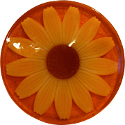 Sunflower Daisy Lucite Trivet Hot Plate Orange Yellow Flower Power Mod