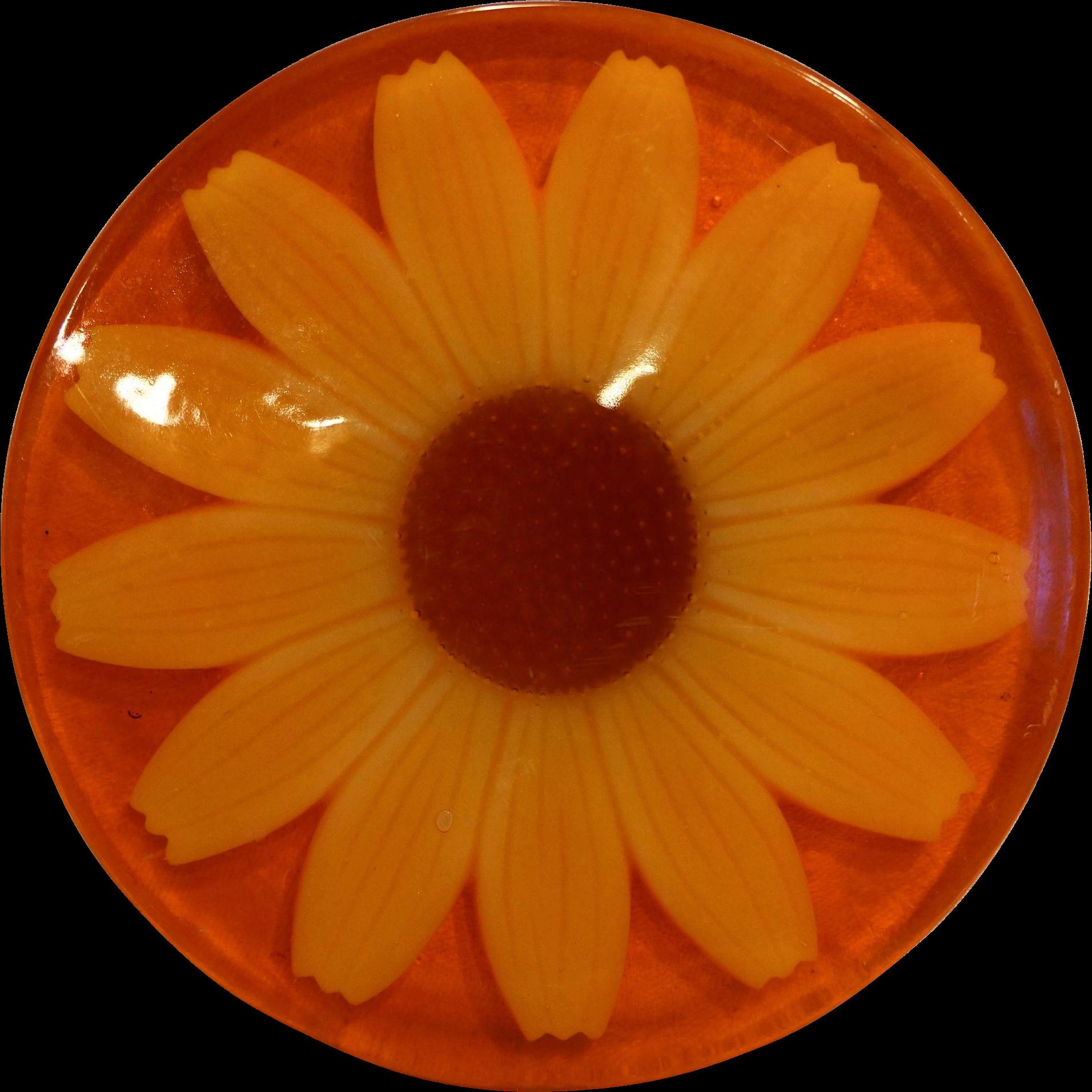 Sunflower Daisy Lucite Trivet Hot Plate Orange Yellow Flower Power Mod