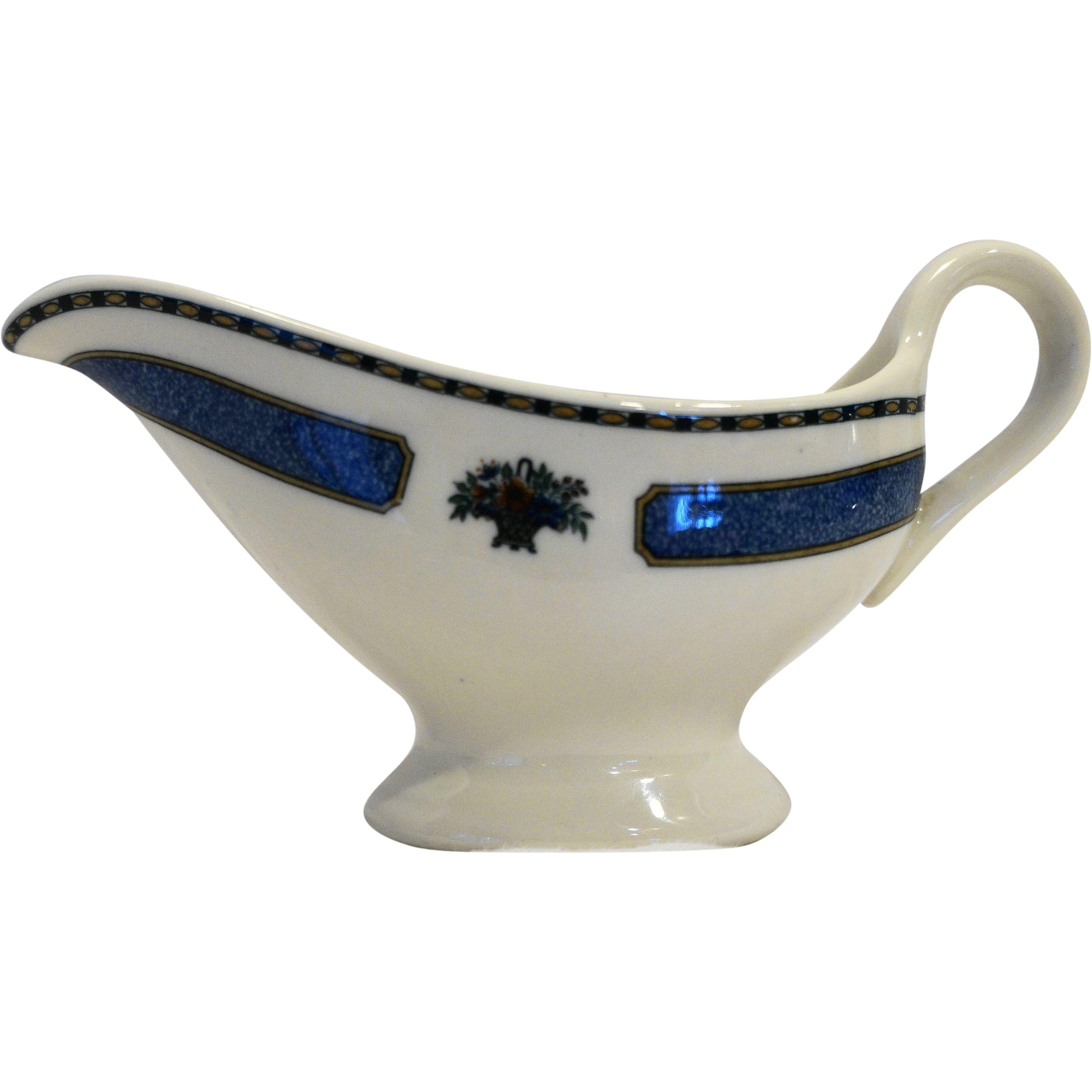 Restaurant Ware Individual Gravy Sauce Boat Basket of Flowers Blue Band
