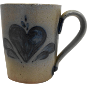 Rowe Pottery Works Heart Blue Salt Glazed Mug 1990