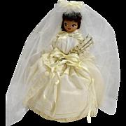 Neiman Marcus Handkerchief Bride Doll Brunette Vintage 1940s