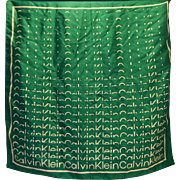 Calvin Klein Block Signature Logo Silk Scarf Green White 26 IN Square