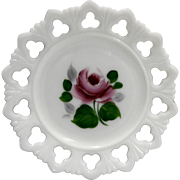 Kemple White Milk Glass Hand Painted Rose Shell Club Lace Edge Plate