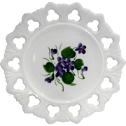 Kemple White Milk Glass Hand Painted Violets Shell Club Lace Edge Plate