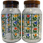 Nina Greenhouse Floral Glass Canisters Pair Tall Wooden Lid Anchor Hocking 1980s