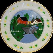 Anchor Hocking Fire King Golden Shell Hand Painted Farm Scene Dinner Plate