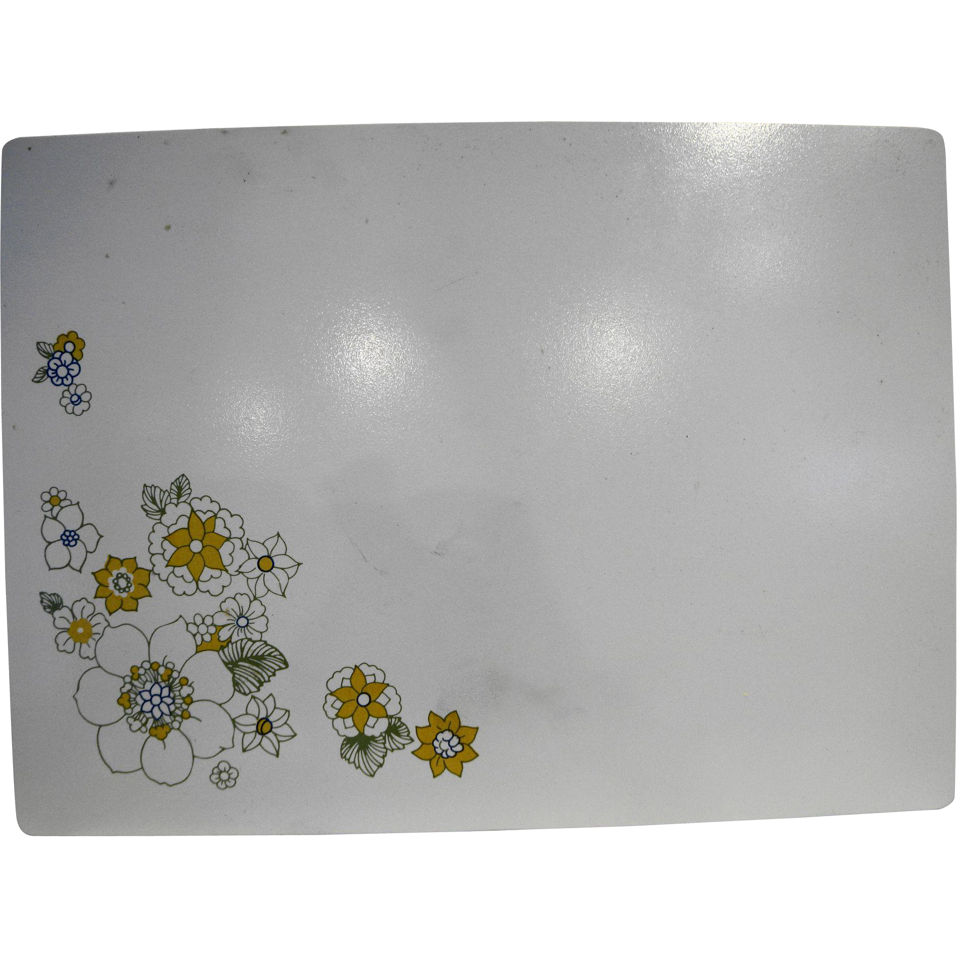Corning Floral Bouquet Yellow White Counter Saver 11 x 15 Cutting Board Trivet Hot Pad