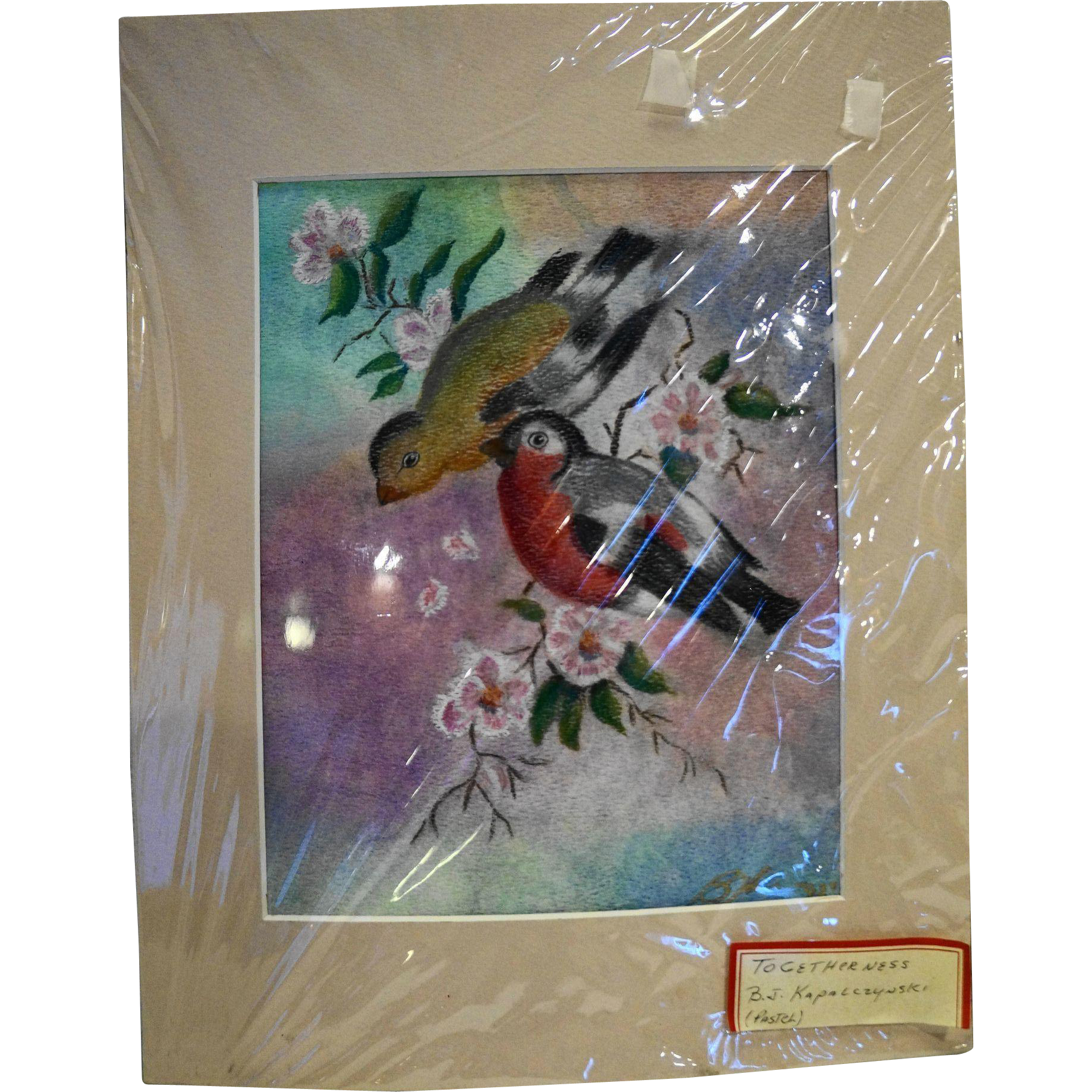 Original Pastel Drawing Togetherness Pair of Birds Floral Branch