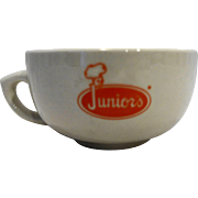 Junior's Restaurant Ware Soup Mug Bowl Orange Logo Buffalo China