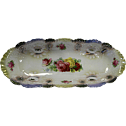 Porcelain Celery Dish Made in Germany Scalloped Floral Roses Transfer Blue Pink Yellow Lustre