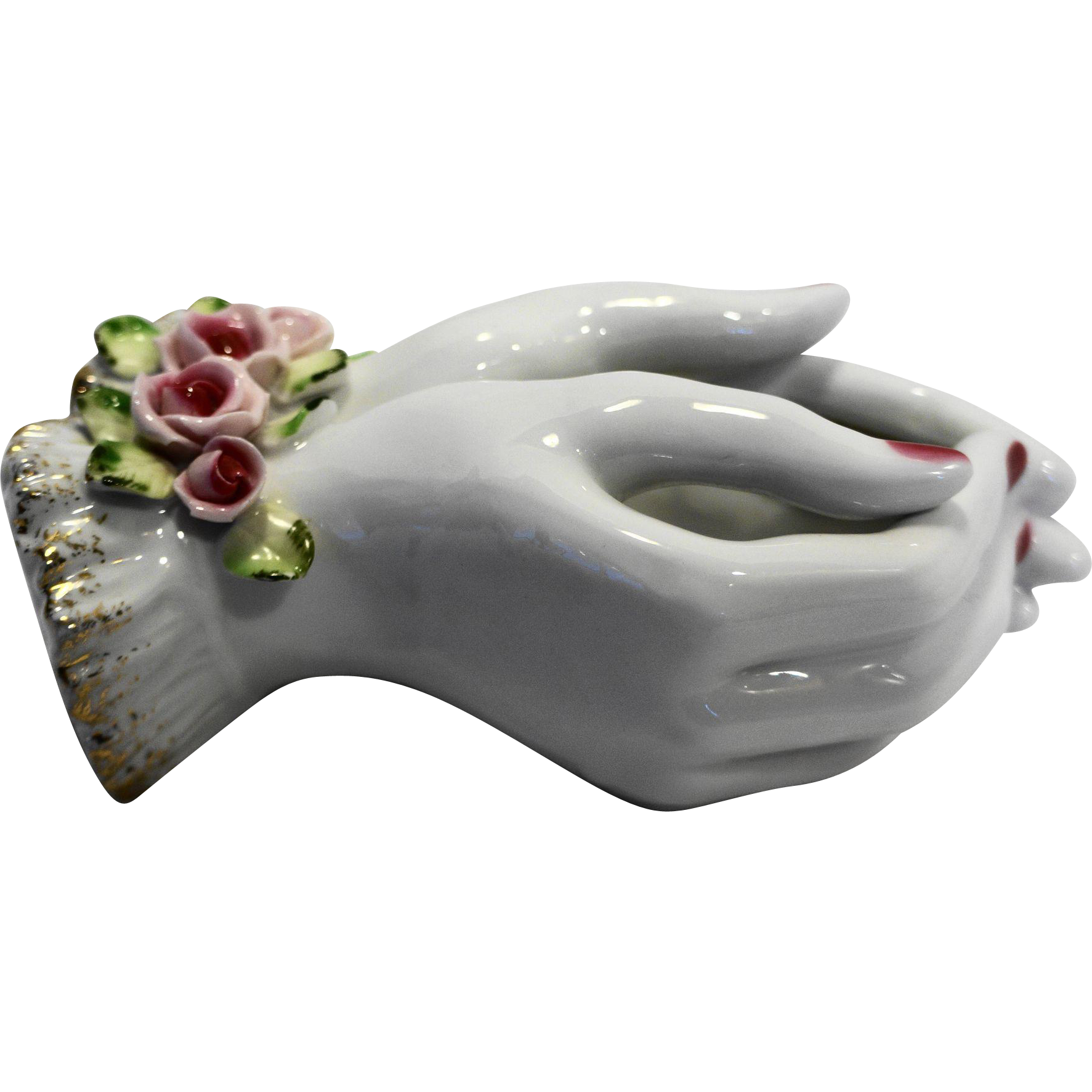 Lefton Lady Hands Pocket Vase Porcelain Roses Painted Nails